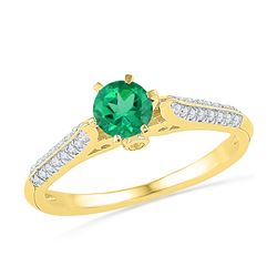 0.65 CTW Created Emerald Solitaire Diamond Ring 10KT Yellow Gold - REF-19K4W
