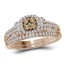 0.50 CTW Cognac-brown Diamond Bridal Wedding Engagement Ring 14KT Rose Gold - REF-82K4W