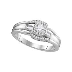 0.50 CTW Diamond Solitaire Halo Bridal Engagement Ring 10KT White Gold - REF-36Y2X