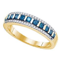 0.35 CTW Blue Color Diamond Ring 10KT Yellow Gold - REF-25M4H