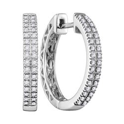 0.33 CTW Diamond Hoop Earrings 10KT White Gold - REF-52H4M