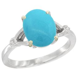 Natural 2.41 ctw Turquoise & Diamond Engagement Ring 10K White Gold - REF-31F5N