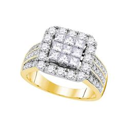 2.02 CTW Princess Diamond Cluster Bridal Engagement Ring 14KT Yellow Gold - REF-209K9W