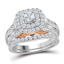 1.99 CTW Diamond Bellissimo Double Halo Bridal Engagement Ring 14KT White Gold - REF-299N9F