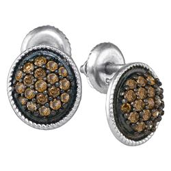 0.50 CTW Cognac-brown Color Diamond Cluster Earrings 10KT White Gold - REF-26W9K