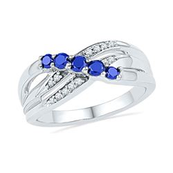 0.58 CTW Created Blue Sapphire Ring 10KT White Gold - REF-22X4Y