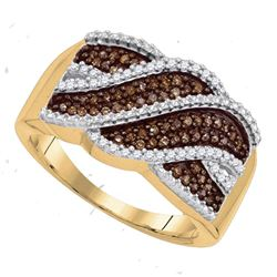 0.35 CTW Cognac-brown Color Diamond Crossover Ring 10KT Yellow Gold - REF-26Y9X