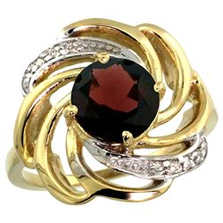Natural 2.25 ctw garnet & Diamond Engagement Ring 14K Yellow Gold - REF-58Y9X