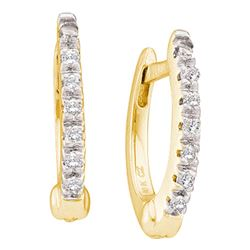 0.08 CTW Prong-set Diamond Single Row Hoop Earrings 10KT Yellow Gold - REF-10W5K