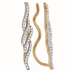 0.25 CTW Diamond Climber Earrings 10KT Yellow Gold - REF-22Y4X