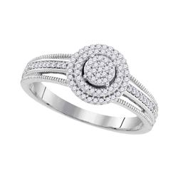 0.20 CTW Diamond Cluster Bridal Wedding Engagement Ring 10KT White Gold - REF-22H4M