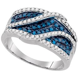 0.75 CTW Blue Color Diamond Crossover Double Ring 10KT White Gold - REF-41F9N