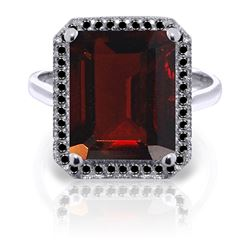 Genuine 7.7 ctw Garnet & Black Diamond Ring Jewelry 14KT White Gold - REF-87Y7F