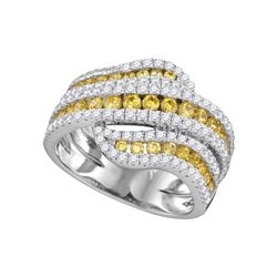 1.73 CTW Natural Canary Yellow Diamond Crossover Ring 14KT White Gold - REF-187W4K