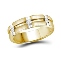 0.23 CTW Mens Diamond Matte-finish Wedding Anniversary Ring 10KT Two-tone Gold - REF-59H9M