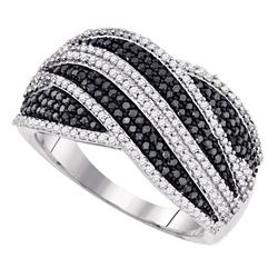 0.75 CTW Black Color Diamond Cocktail Ring 10KT White Gold - REF-67N4F