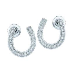 0.15 CTW Diamond Horseshoe Lucky Screwback Stud Earrings 10KT White Gold - REF-16F4N