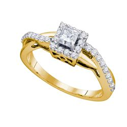 0.50 CTW Princess Diamond Solitaire Halo Bridal Engagement Ring 14KT Yellow Gold - REF-75K2W