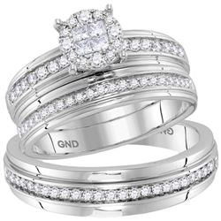 0.62 CTW His & Hers Diamond Soleil Cluster Matching Bridal Ring 14KT White Gold - REF-119M9H