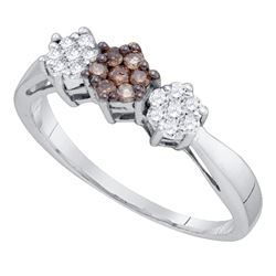 0.25 CTW Cognac-brown Color Diamond Cluster Ring 10KT White Gold - REF-22M4H