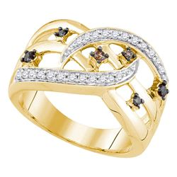 0.33 CTW Cognac-brown Color Diamond Openwork Crossover Strand Ring 10KT Yellow Gold - REF-37N5F