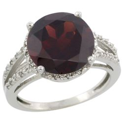 Natural 5.34 ctw Garnet & Diamond Engagement Ring 14K White Gold - REF-52Z3Y