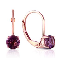 Genuine 1.20 ctw Amethyst Earrings Jewelry 14KT Rose Gold - REF-23Z2N