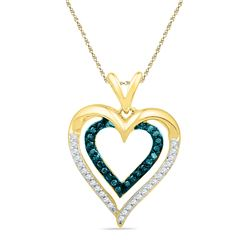 0.25 CTW Blue Color Diamond Nested Double Heart Pendant 10KT Yellow Gold - REF-22M4H
