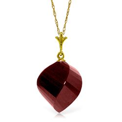 Genuine 15.25 ctw Ruby Necklace Jewelry 14KT Yellow Gold - REF-26A7K