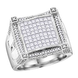 1.9 CTW Mens Princess Diamond Symmetrical Square Cluster Ring 10KT White Gold - REF-172H4M