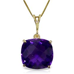 Genuine 3.6 ctw Amethyst Necklace Jewelry 14KT Yellow Gold - REF-28T9A