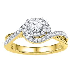 0.40 CTW Diamond Solitaire Bridal Engagement Ring 10KT Yellow Gold - REF-44W9K