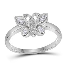 0.10 CTW Diamond Butterfly Bug Cluster Ring 10KT White Gold - REF-19K4W