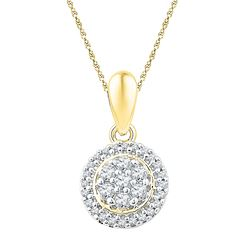 0.25 CTW Diamond Halo Flower Cluster Pendant 10KT Yellow Gold - REF-19Y4X