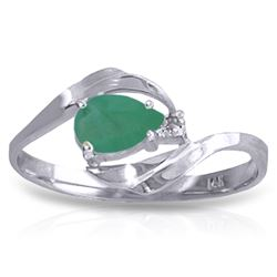 Genuine 0.51 ctw Emerald & Diamond Ring Jewelry 14KT White Gold - REF-30X2M