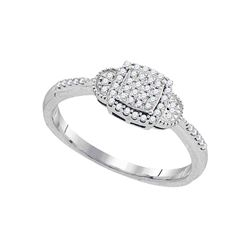 0.18 CTW Diamond Square Cluster Ring 10KT White Gold - REF-22W4K