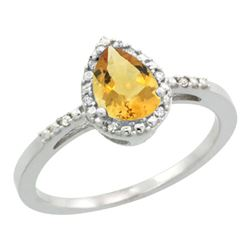 Natural 1.53 ctw citrine & Diamond Engagement Ring 10K White Gold - REF-18V9F
