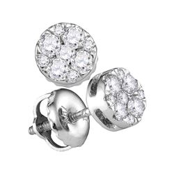 0.25 CTW Diamond Cluster Earrings 14KT White Gold - REF-25F4N