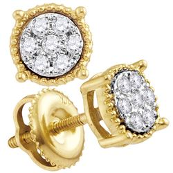 0.15 CTW Diamond Flower Stud Earrings 10KT Yellow Gold - REF-14M9H