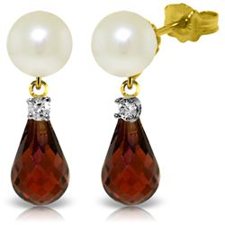 Genuine 6.6 ctw Pearl, Garnet & Diamond Earrings Jewelry 14KT Yellow Gold - REF-27H6X