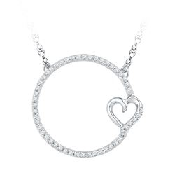 0.20 CTW Diamond Circle Heart Pendant 10KT White Gold - REF-25N4F