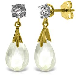 Genuine 6.06 ctw White Topaz & Diamond Earrings Jewelry 14KT Yellow Gold - REF-37X4M