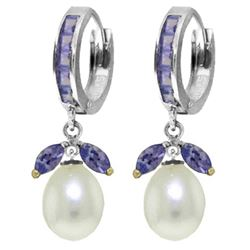 Genuine 10.30 ctw Tanzanite & Pearl Earrings Jewelry 14KT White Gold - REF-71N3R