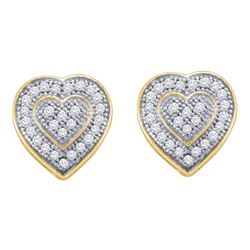 0.15 CTW Diamond Heart Earrings 10KT Yellow Gold - REF-18H2M