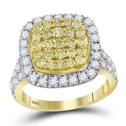 1.75 CTW Natural Yellow Diamond Cluster Ring 14KT Yellow Gold - REF-142K4W