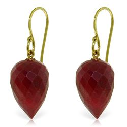 Genuine 26.1 ctw Ruby Earrings Jewelry 14KT Yellow Gold - REF-25T8A