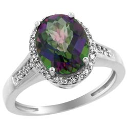 Natural 2.49 ctw Mystic-topaz & Diamond Engagement Ring 10K White Gold - REF-31Y9X