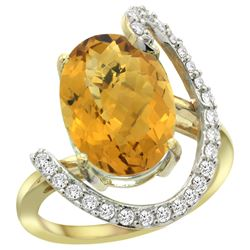 Natural 5.89 ctw Quartz & Diamond Engagement Ring 14K Yellow Gold - REF-89Y3X