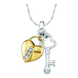 0.05 CTW Diamond Heart Lock Key Pendant 10KT Yellow Two-tone Gold - REF-10X5Y