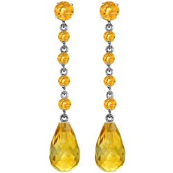 Genuine 23 ctw Citrine Earrings Jewelry 14KT White Gold - REF-50P6H